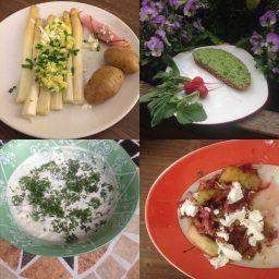 Kulinarisches klassisch und neu kombiniert: Spargel aus dem Ofen, Kräuteraufstrich, Kressedip und Warmer Rhabarber mit Speck und Ziegenkäse
